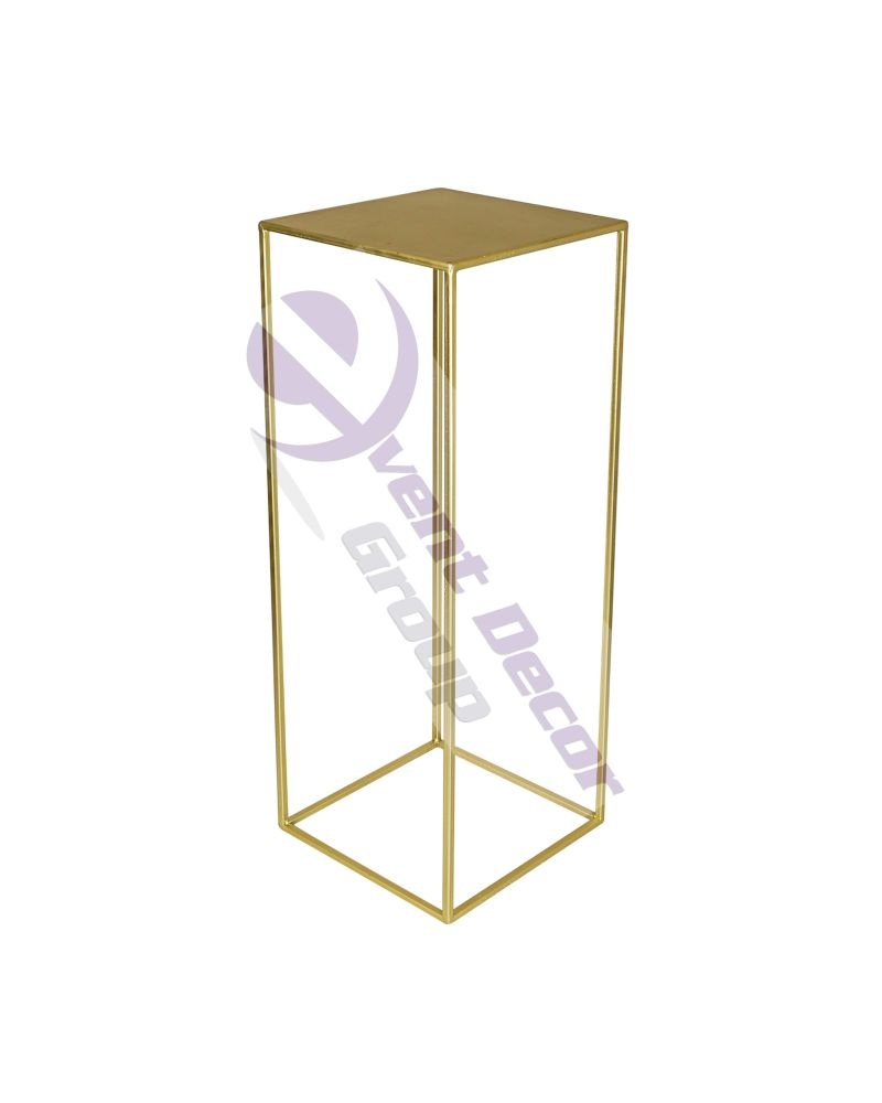 Gold Metal Rectangle Flower Stand Table Pedestal 70cm