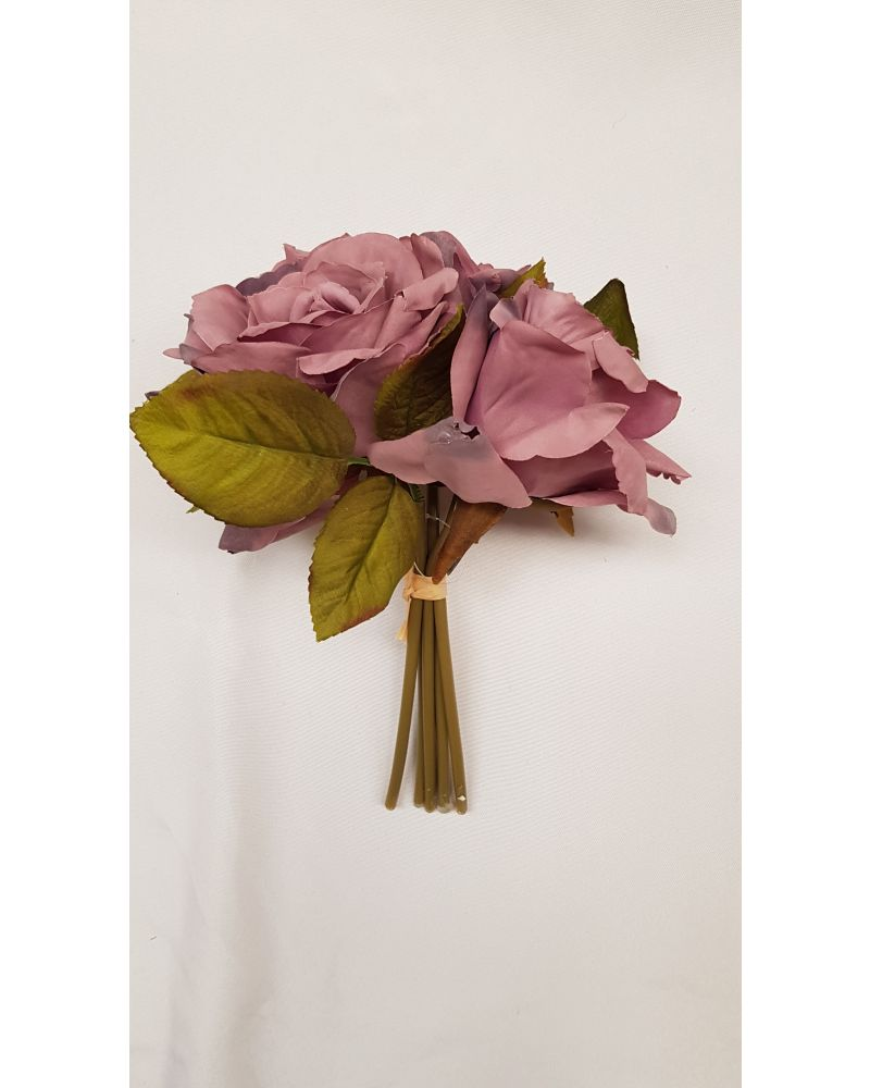 Mauve Open Rose Bunch 3 Head (24cm)