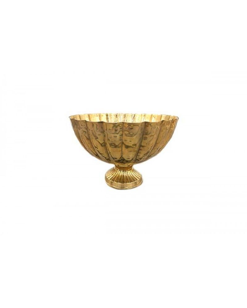 Rose Gold Ribbed Table Bowl Centrepiece 25cm