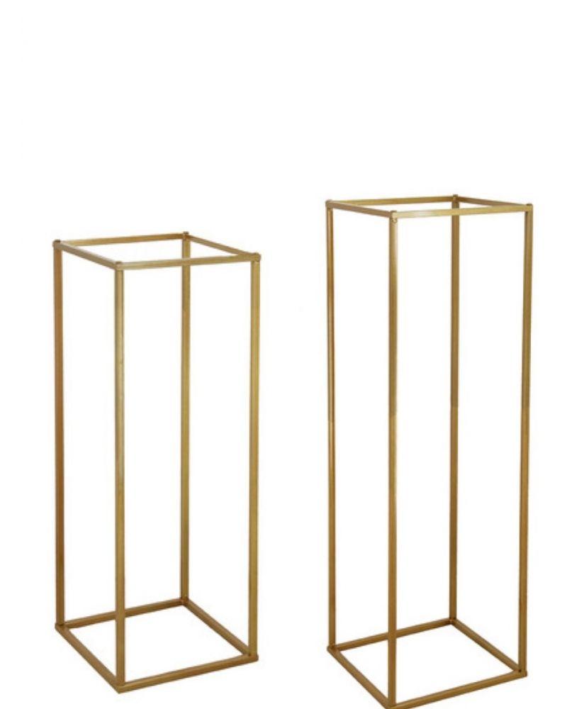 Set of 2 Gold Metal Flower Stand Table Pedestal Plinth 80cm & 100cm