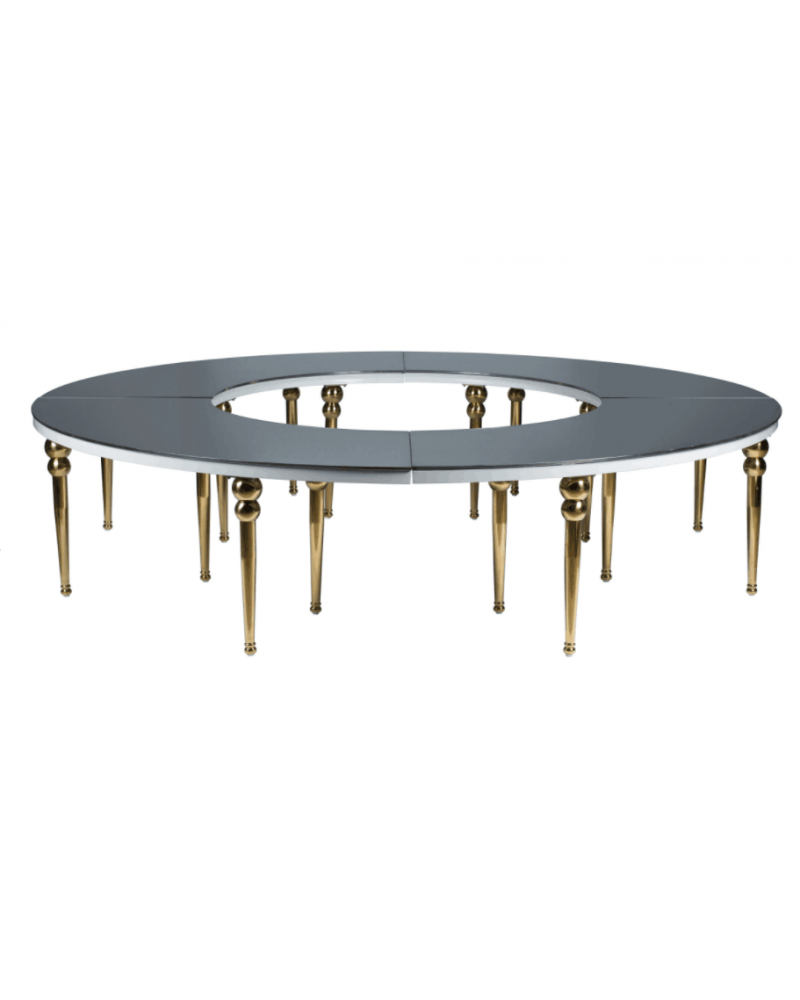 Luxury Full Moon Table with Glass Mirror Top
