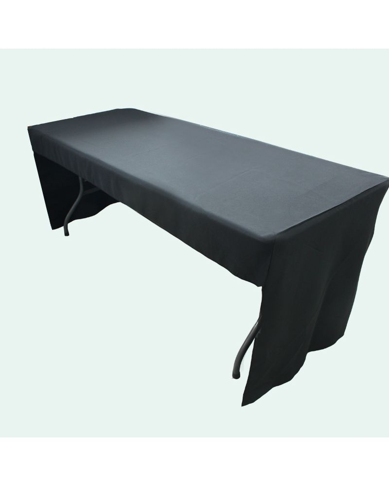 6ft Black Rectangular Fitted 3 sided Polyester Trestle Table Banqueting Tablecloth