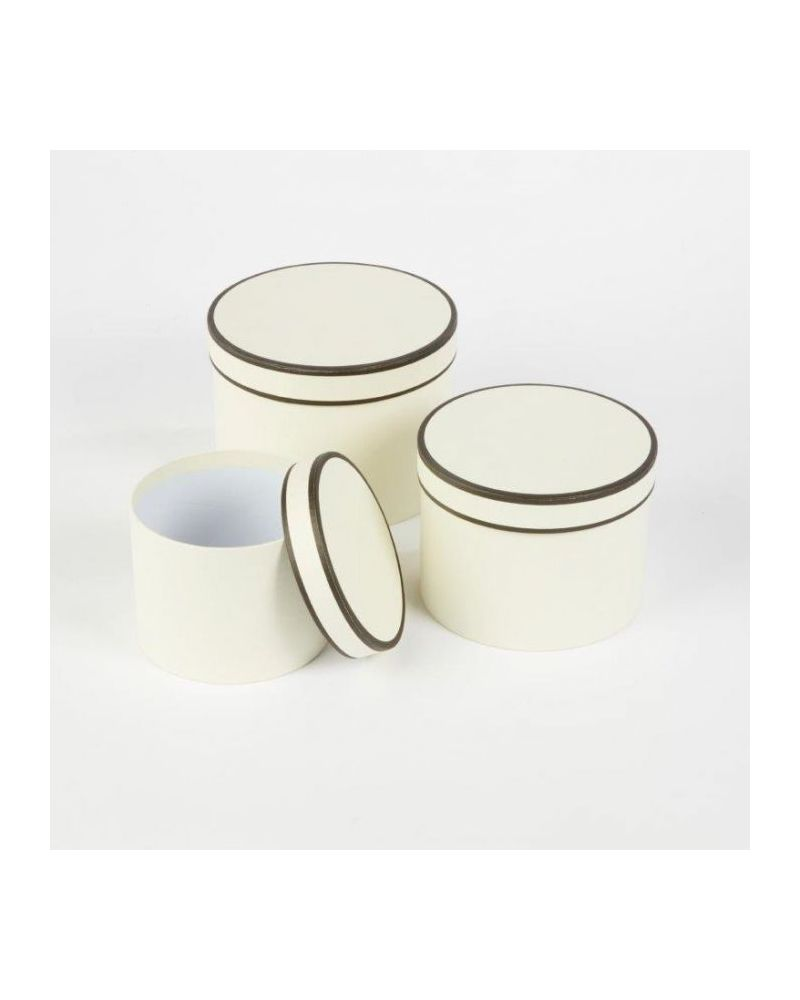 Oasis® Round Couture Hat Box (Set of 3) - Cream w/ Black Piping