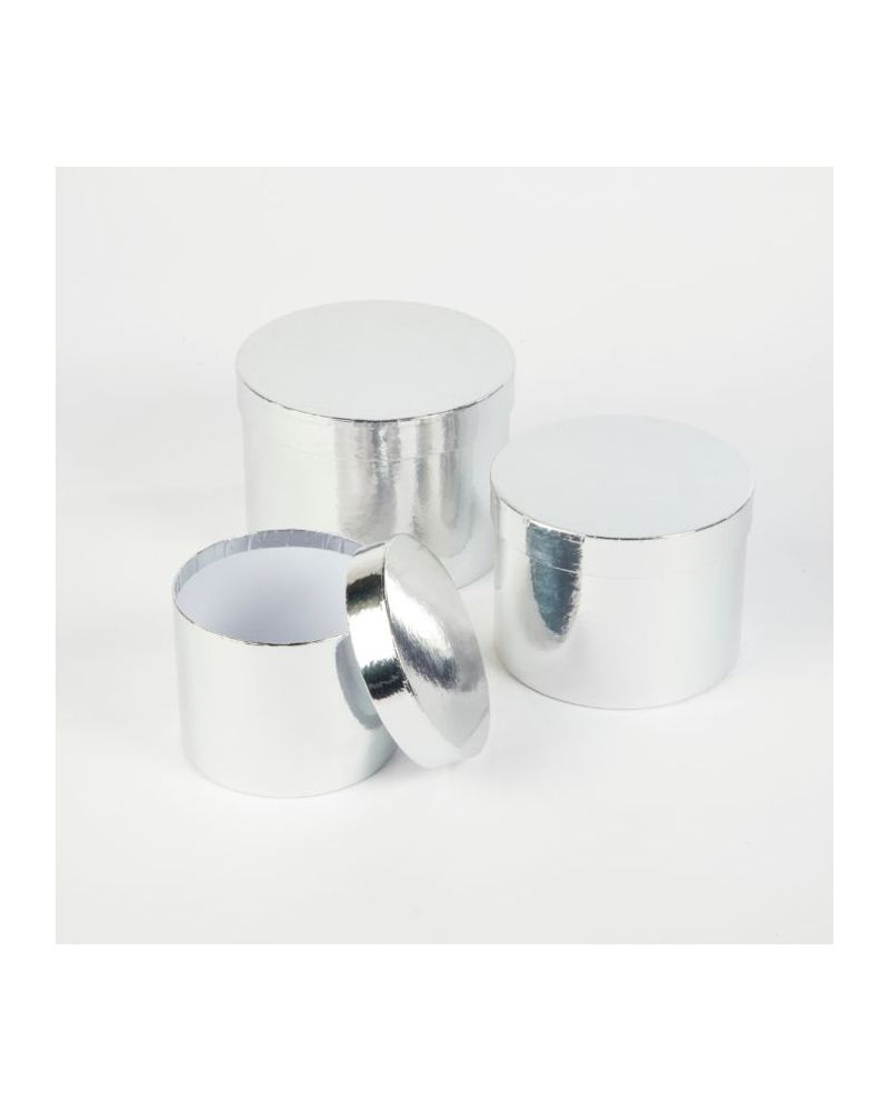 Oasis® Round Sheen Hat Box (Set of 3) - Silver