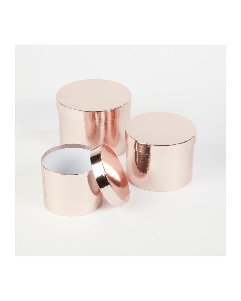 Oasis® Round Sheen Hat Box (Set of 3) - Rose Gold