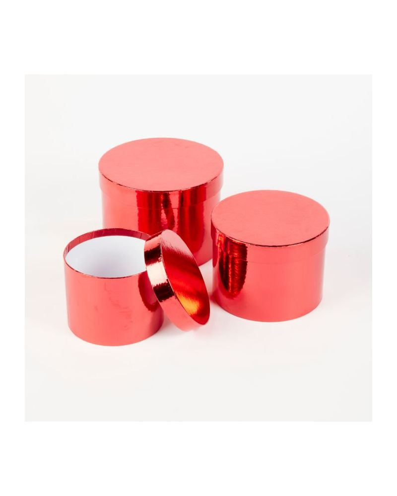 Oasis® Round Sheen Hat Box (Set of 3) - Red