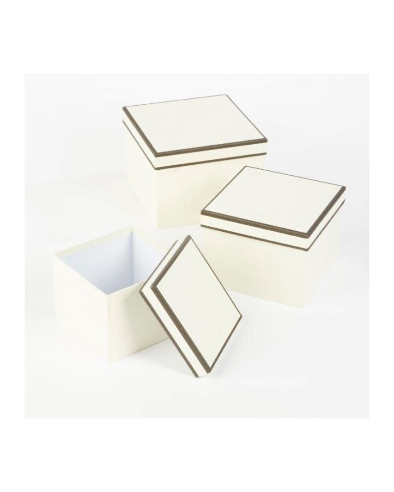 Oasis® Square Couture Hat Box (Set of 3) - Cream w/ Black Piping