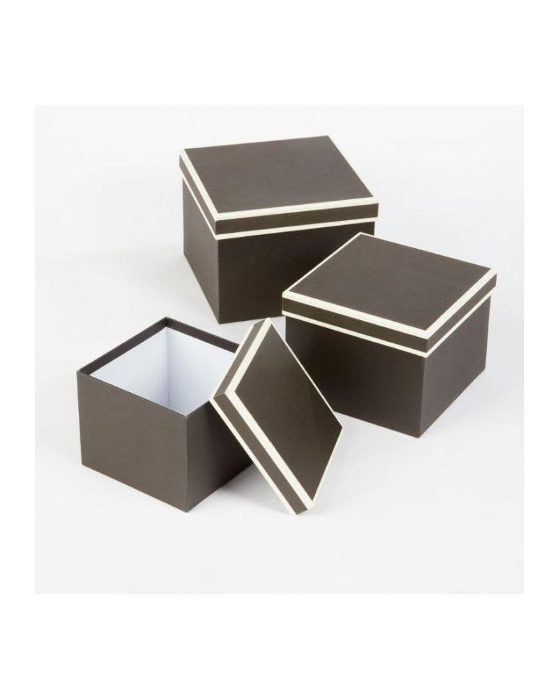 Oasis® Square Couture Hat Box (Set of 3) - Black w/ Cream Piping