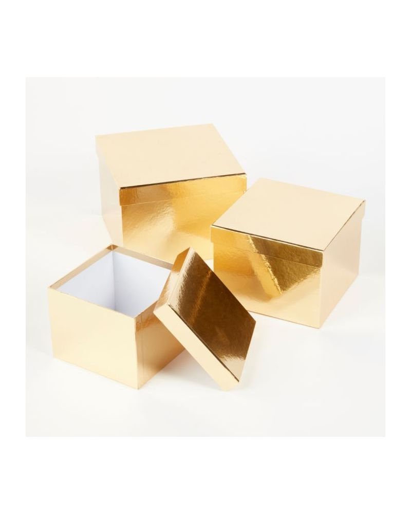 Oasis® Square Sheen Hat Box (Set of 3) - Gold