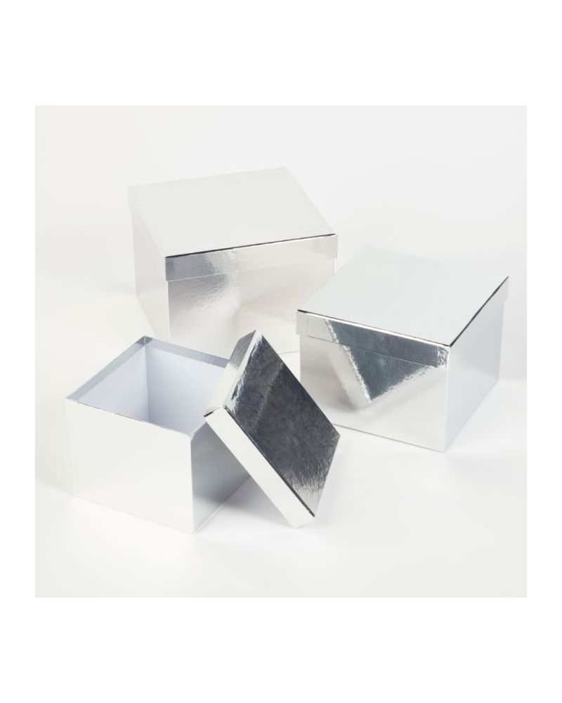 Oasis® Square Sheen Hat Box (Set of 3) - Silver