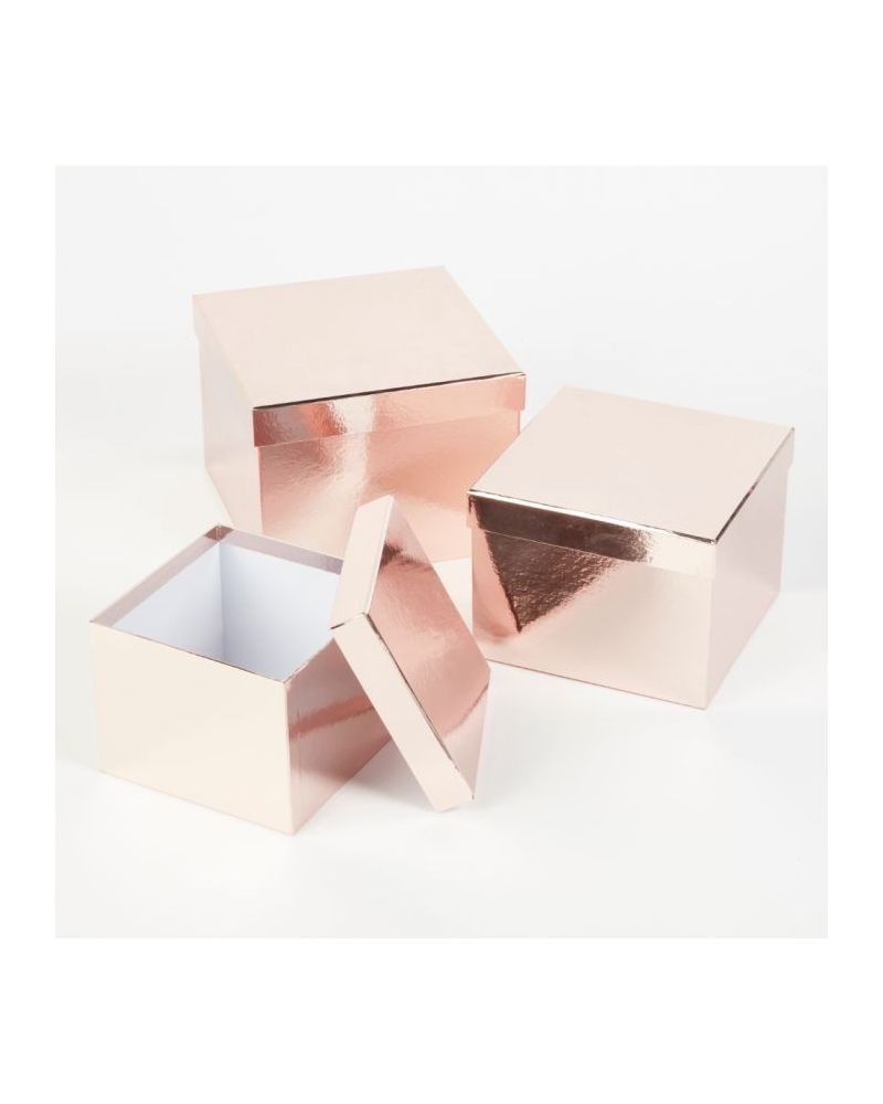 Oasis® Square Sheen Hat Box (Set of 3) - Rose Gold