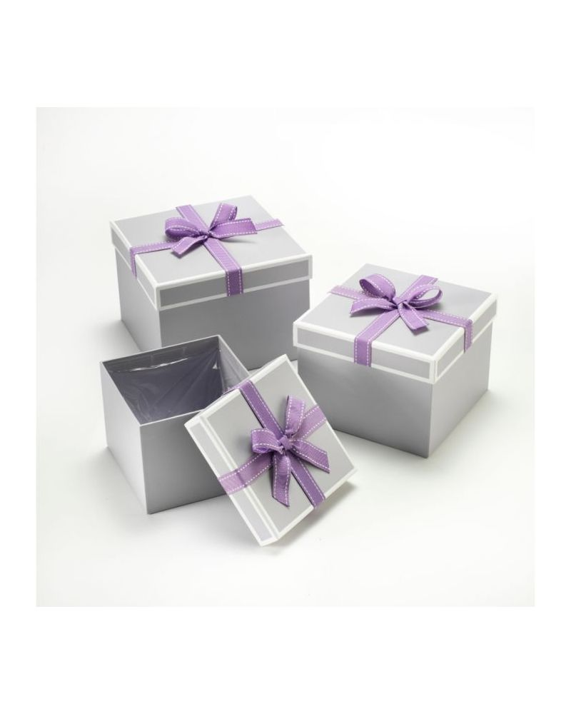 Oasis® Square Stephy Hat Box (Set of 3) - Grey w/ Lilac Bow