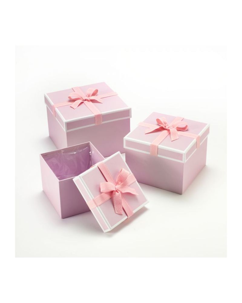 Oasis® Sqaure Stephy Hat Box (Set of 3) - Pink w/ Pink Bow