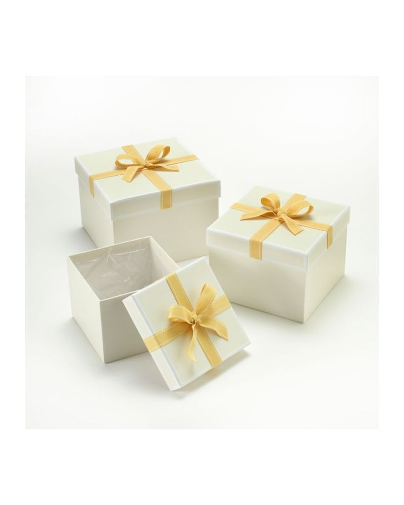 Oasis® Square Stephy Hat Box (Set of 3) - Cream w/ Gold Bow