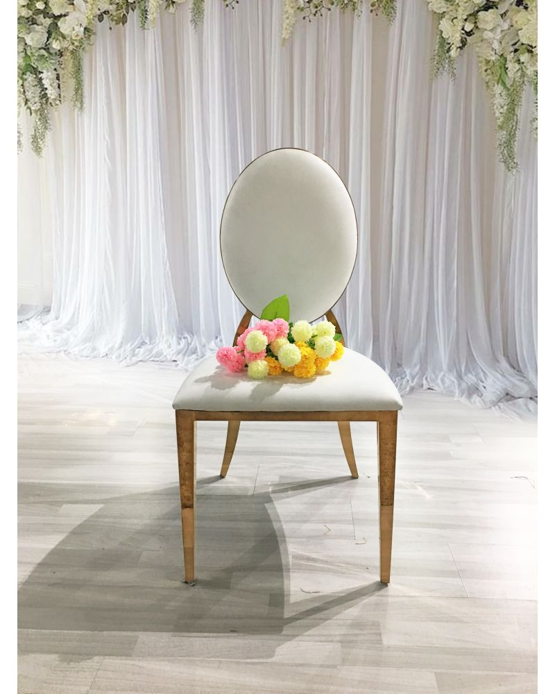 Dior PU Leather Chair White & Gold Venue Decor Wedding Chairs