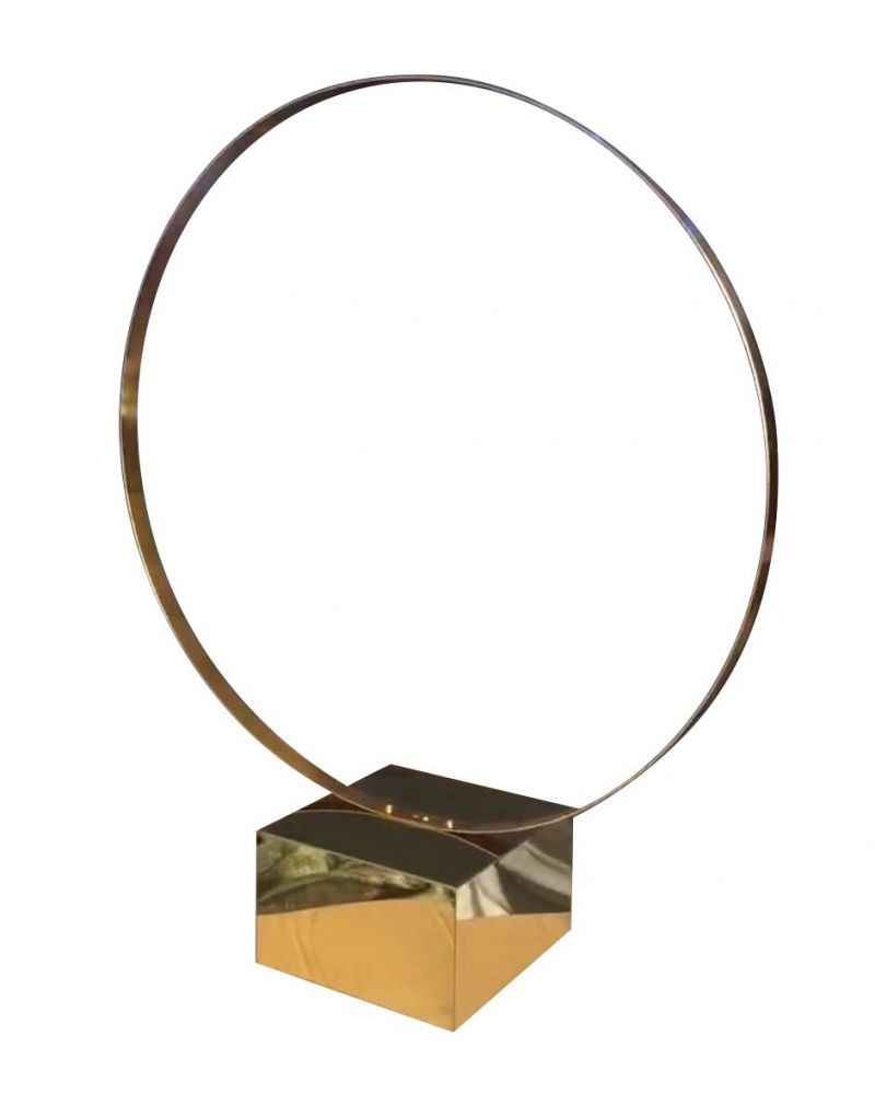 Gold Metal Table Hoop Flower Stand Table 80cm with Base