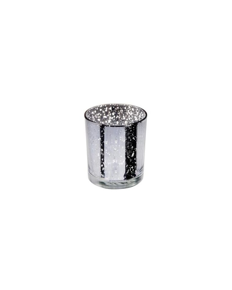 Glass Medium Silver Candle T Light Holder 70x90mm