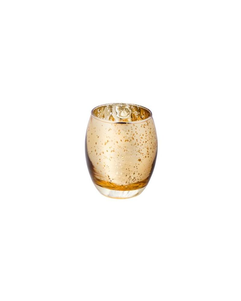 Glass Large Gold Candle T Light Holder 75x90mm