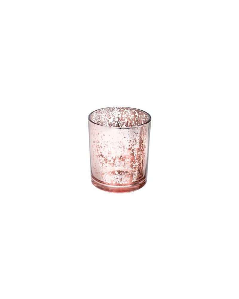 Glass Medium Rose Gold Candle T Light Holder 70x90mm