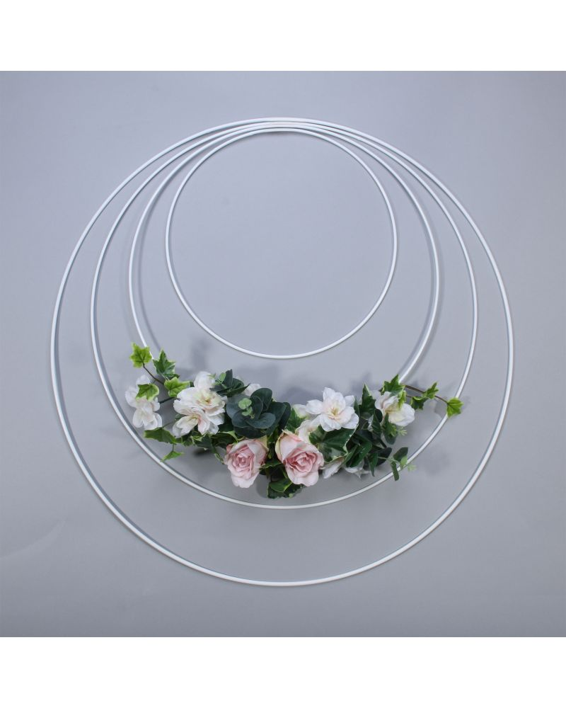 50cm White Metal Ring Hand Held Hoop to hang from Back drops