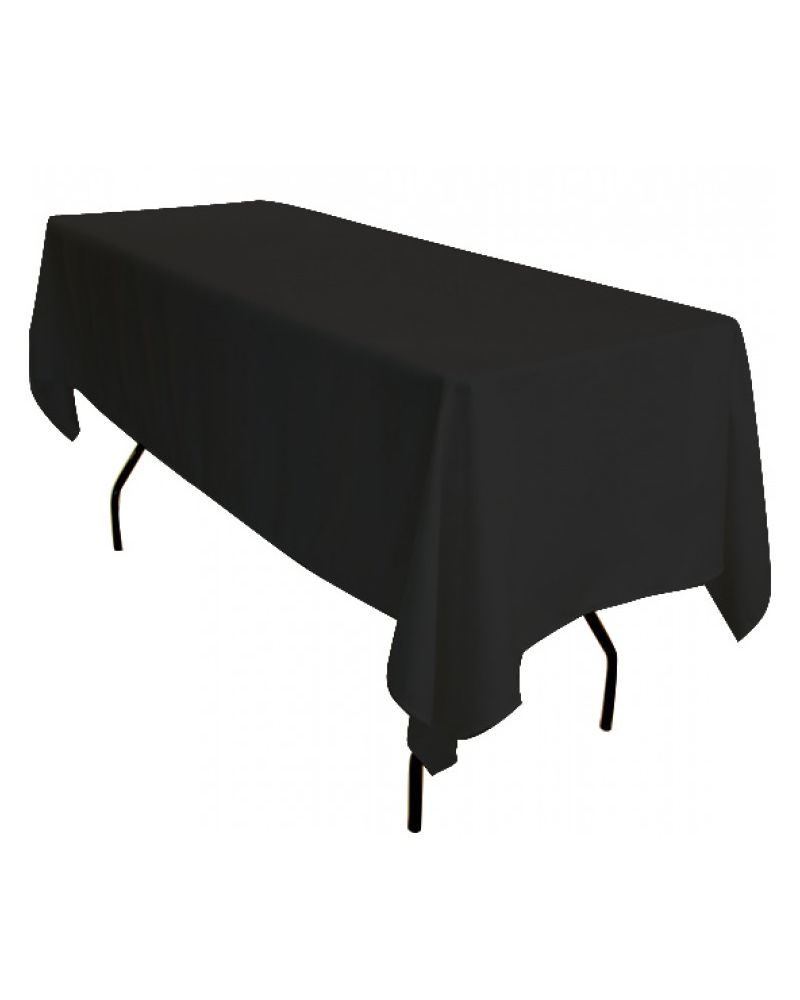 70 inch x 108 Inch Black Rectangular Trestle Table Banqueting Tablecloth