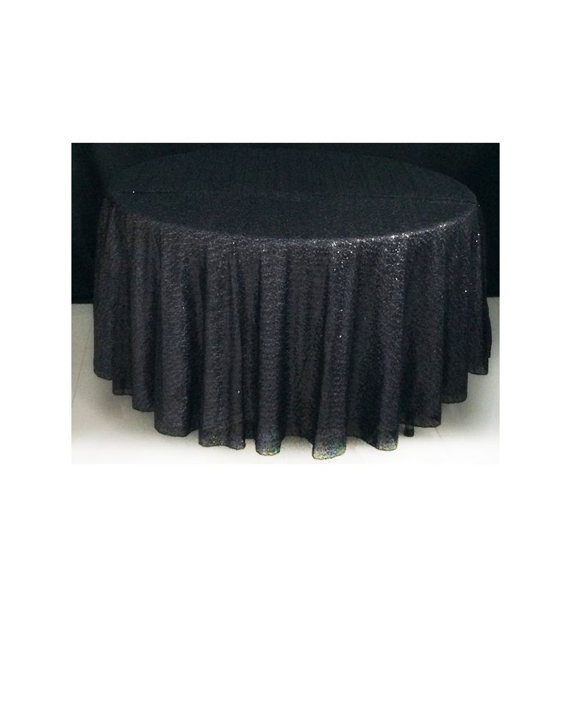 120 Inch Round Black Sequin Tablecloth