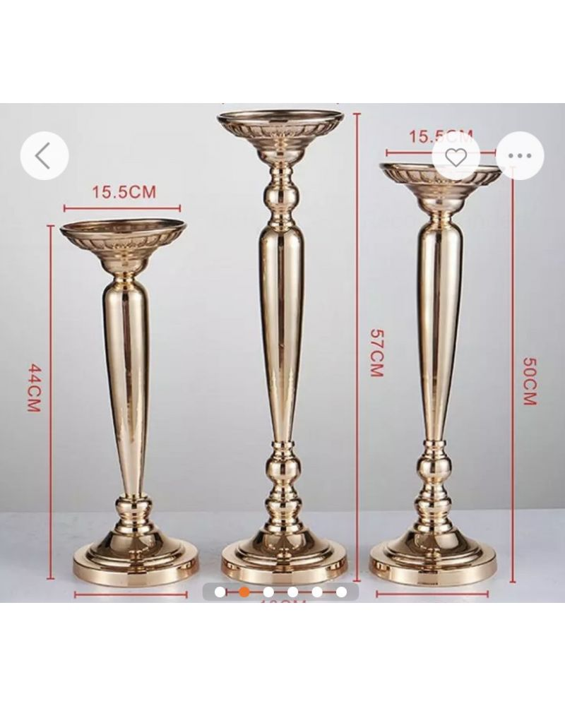 Set of 3 Gold Metal Stand for flower Arrangement Centrepiece 57cm, 50cm & 44cm