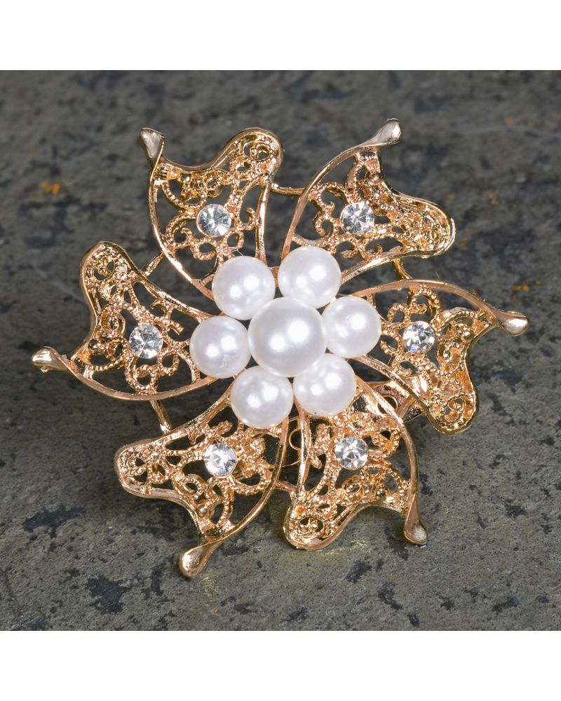 Rose Gold Brooch With Pearls & Diamante 6cm