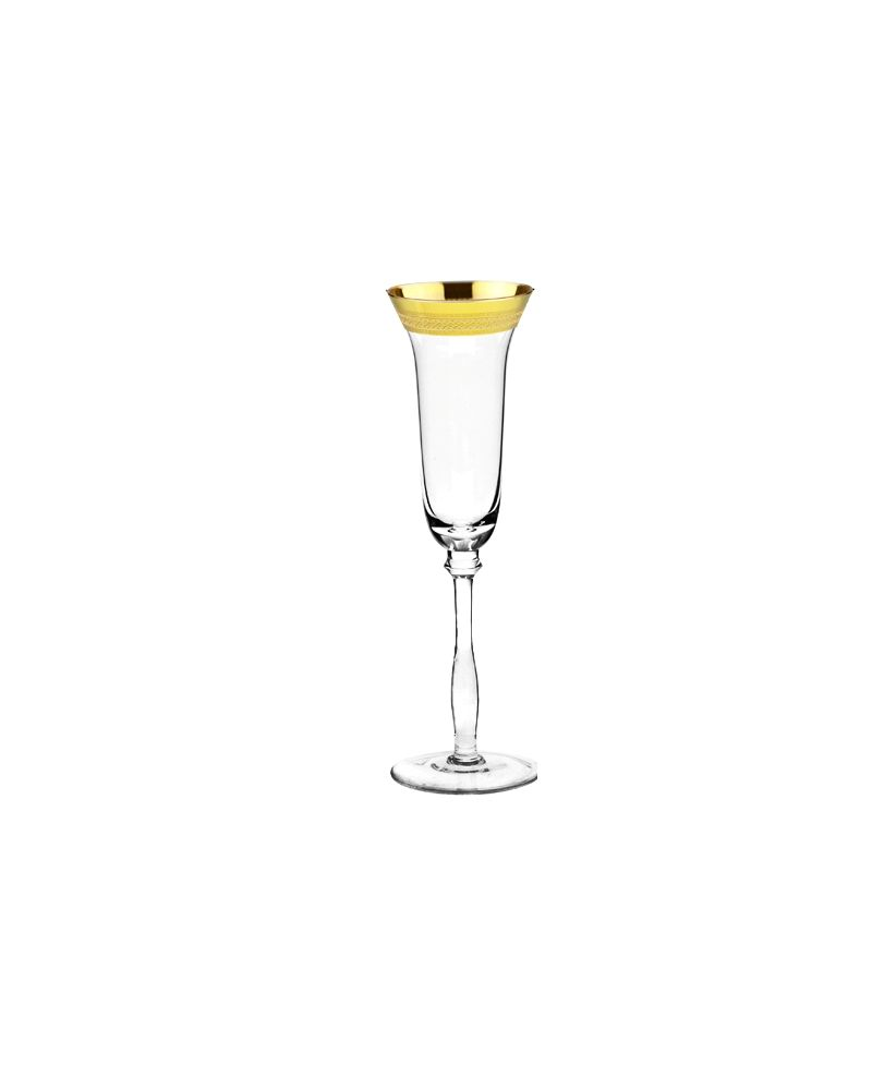 Gold Fancy Decal Rimmed Champagne Glass