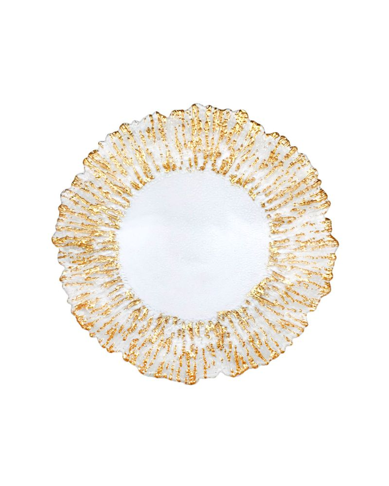 Gold Foil Reef Edge Glass  Charger Plate  GP0238G