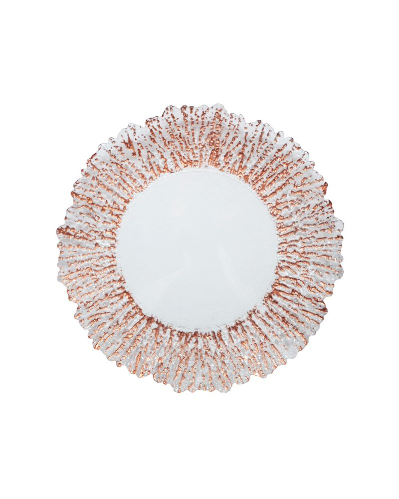Rose Gold Reef Edge Glass  Charger Plate to buy