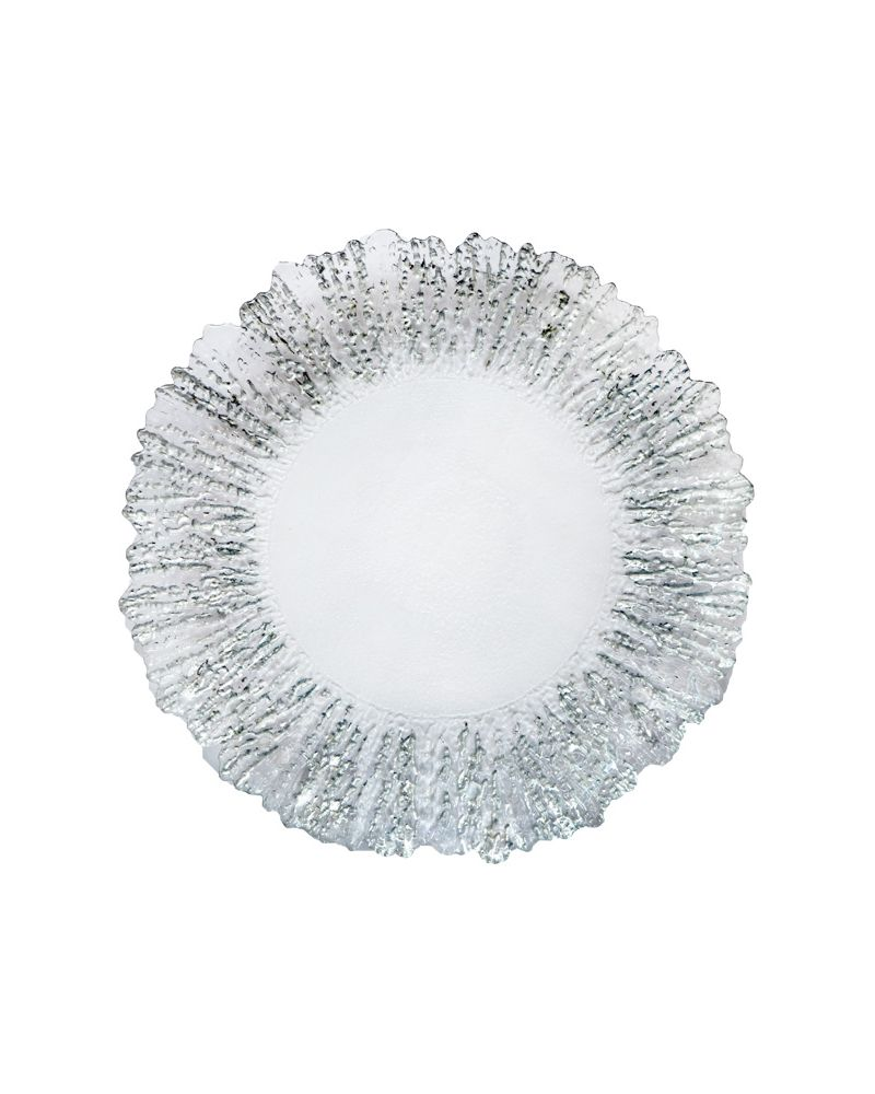 Silver Foil Reef Edge Glass Charger Plate GP0238S