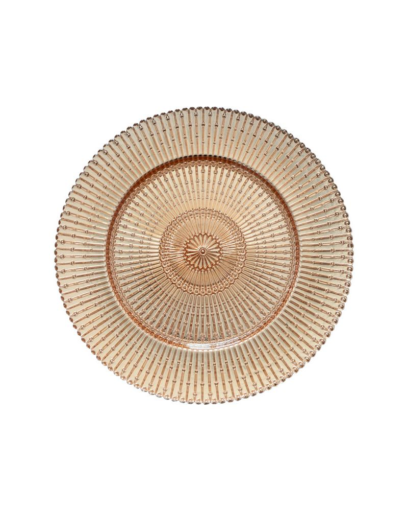 Rose Gold/Clear Sun Ray Glass Charger Plate to buy