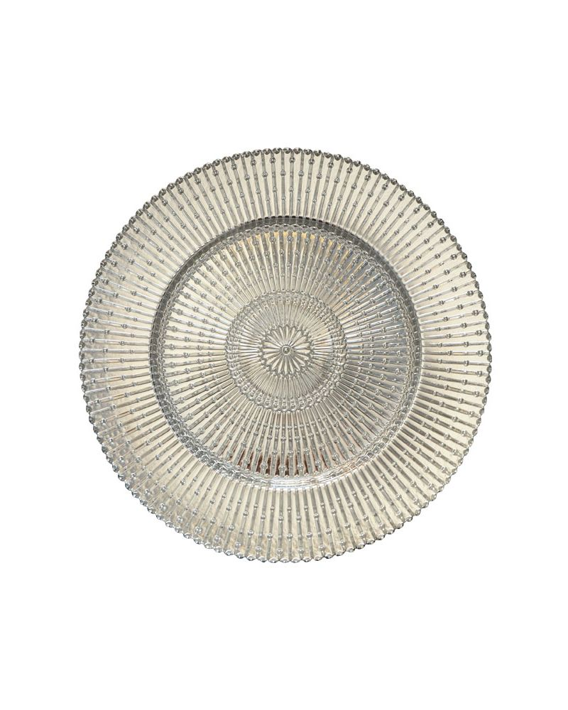 Silver/Clear Sun Ray Glass Charger Plate to buy