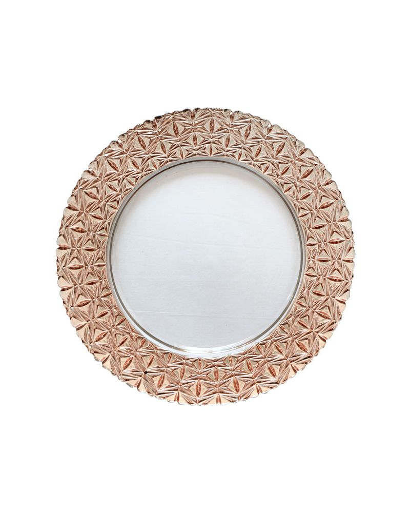 Rose Gold Glass Star Pattern Band Charger Plate to buy