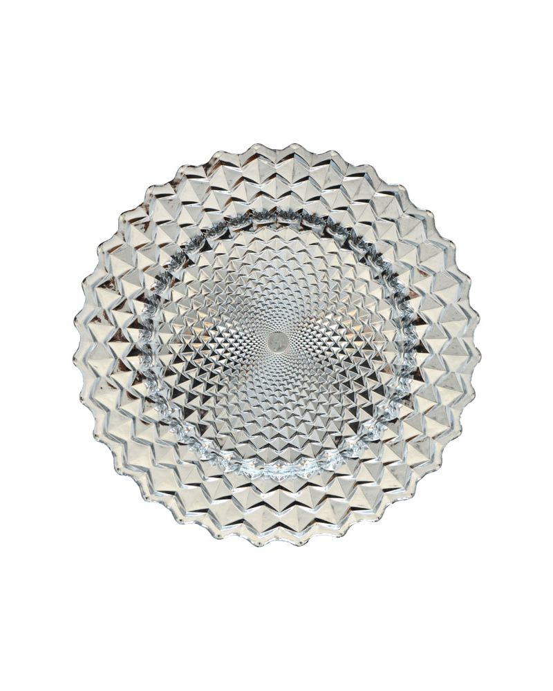 Silver Spiral Pattern Band Glass Charger Plate to buy