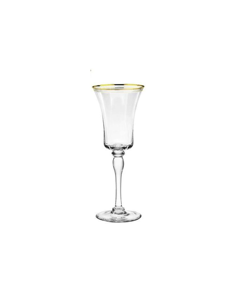 Gold Rimmed Red Wine Glass