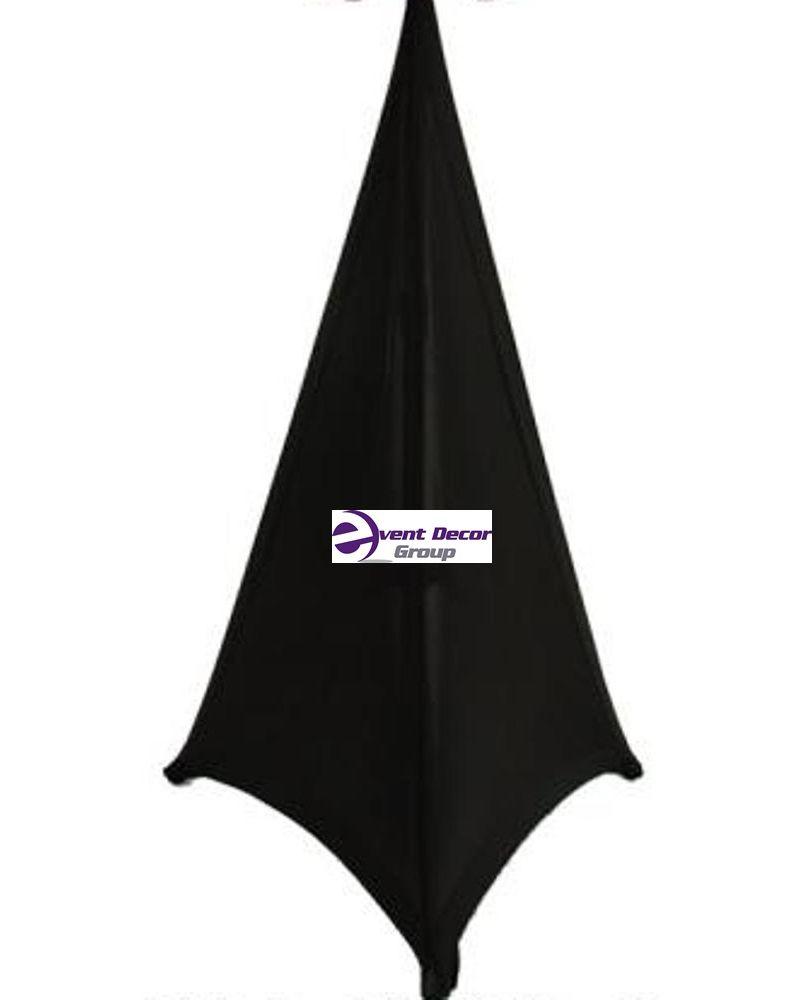 2x (Pair) Black Double Sided Spandex Triangular Mobile DJ Speaker Tripod Cover Scrim