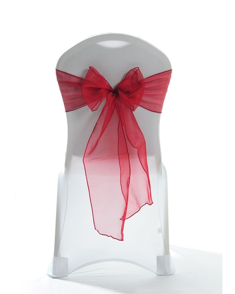 """Garnet Crystal Organza Chair Cover Sashes 8"""" x 108"""""""