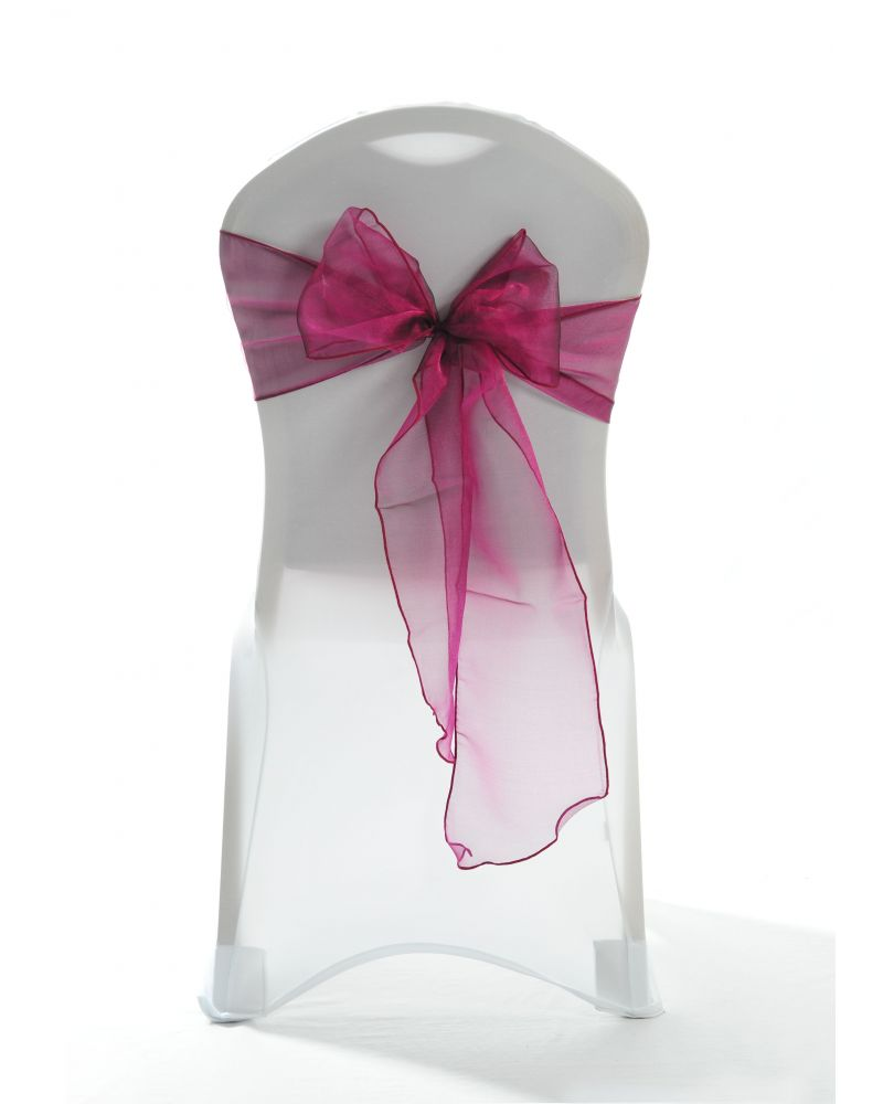 Burgundy Crystal Organza Chair Cover Sashes