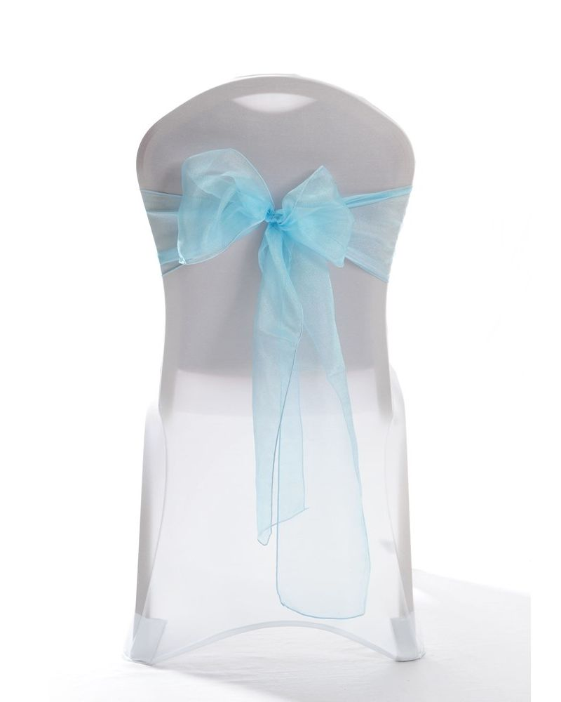 "Tiffany Blue Crystal Organza Chair Cover Sashes 8"" x 108"""