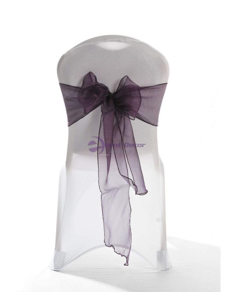 Ultra Plum Crystal Organza Chair Cover Sashes