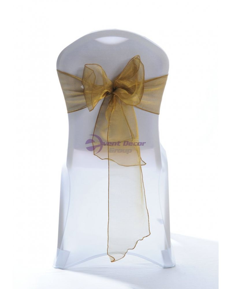 Victoria Gold Crystal Organza Chair Cover Sashes