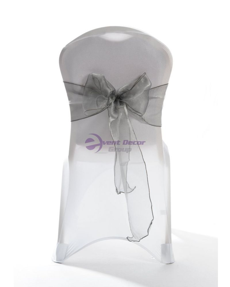 "Platinum Silver Crystal Organza Chair Cover Sashes 8"" x 108"""