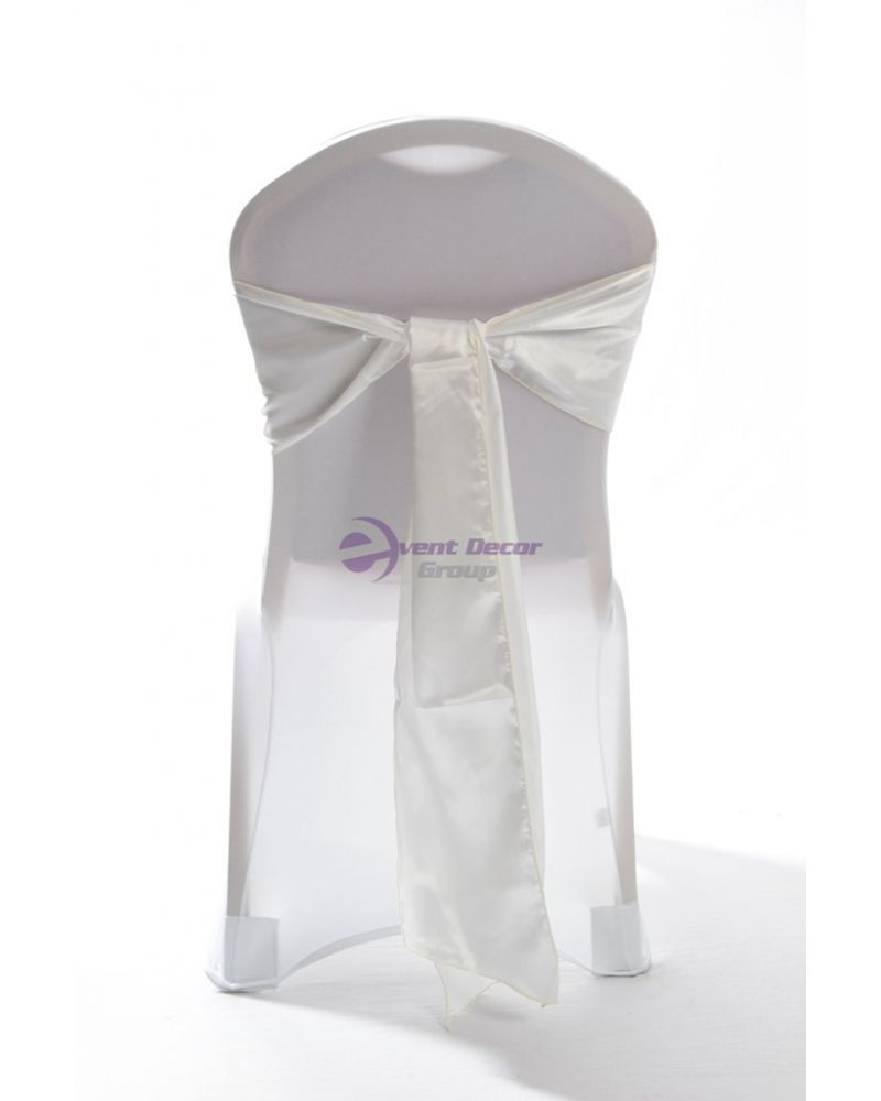 """Ivory Satin Wedding Chair Cover Sashes 8"""" x 108"""""""