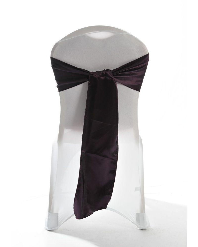 "Plum Satin Wedding Chair Cover Sash 8"" x 108"""