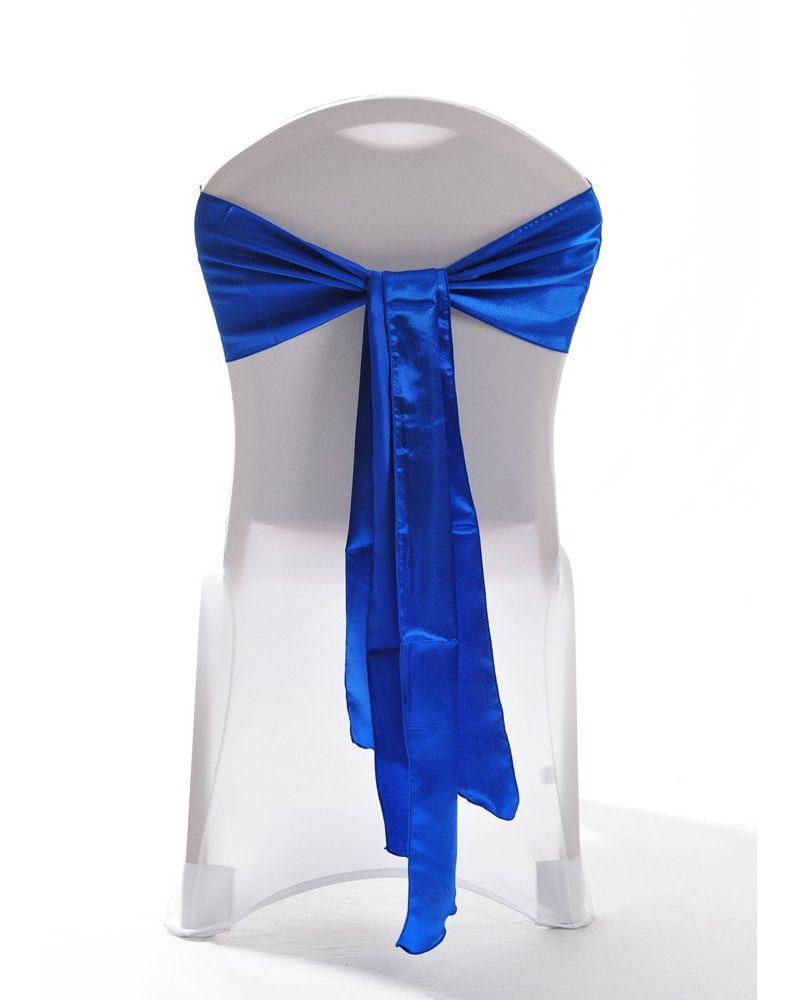 "Royal Blue Satin Wedding Chair Cover Sash 8"" x 108"""