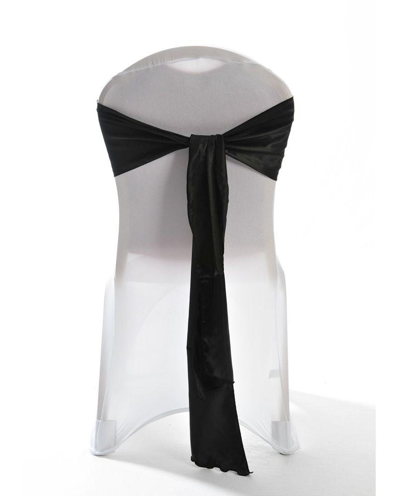 "Black Satin Wedding Chair Cover Sash 8"" x 108"""