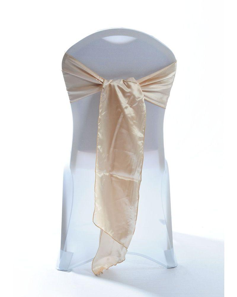 "Champagne Satin Wedding Chair Cover Sash 8"" x 108"""