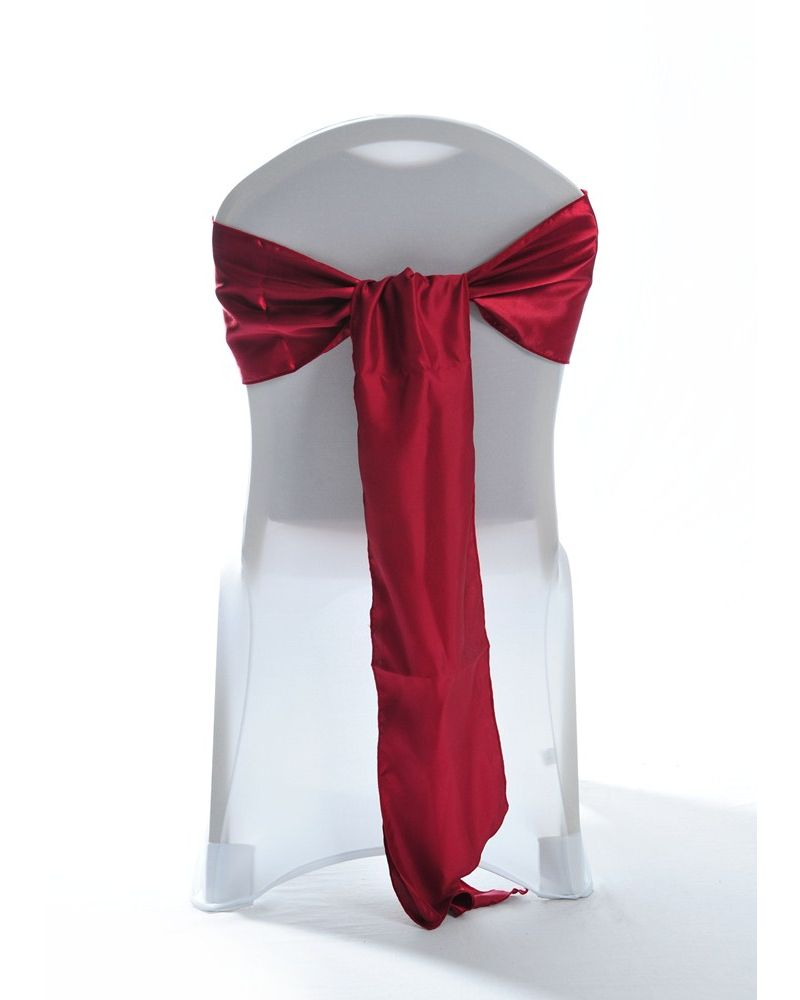 "Garnet Satin Wedding Chair Cover Sash 8"" x 108"""